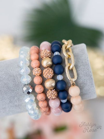 Navy & Pink Anchors Away Bracelet Stack