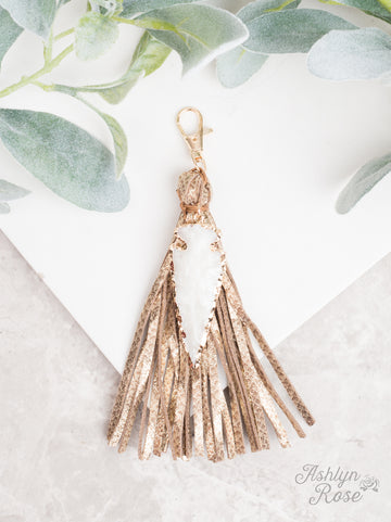 Gold with Arrowhead To the Point Tassel Keychain