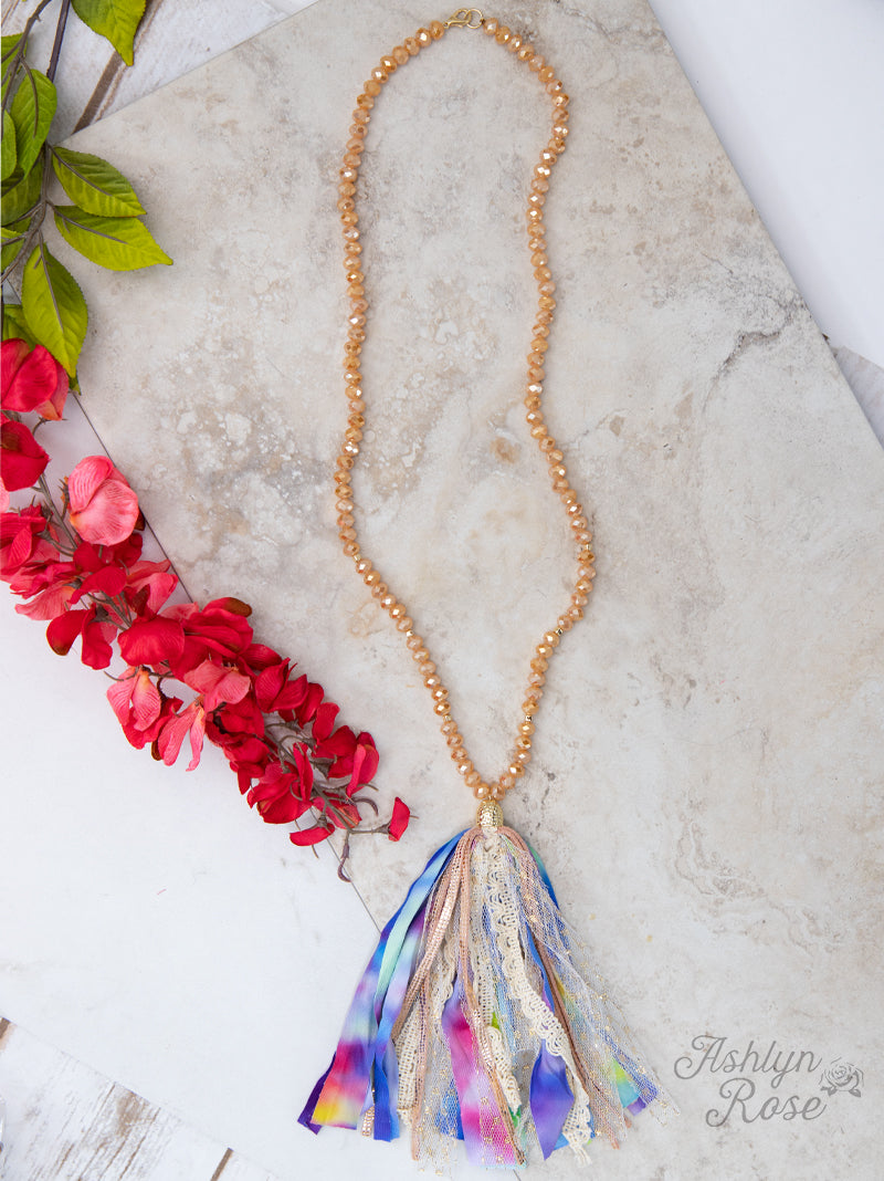 Dyeing to Meet You Beaded Necklace with Tie-Dye & Lace Tassel