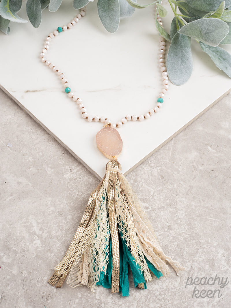 Teal Clearest Sky Druzy Tassel Necklace