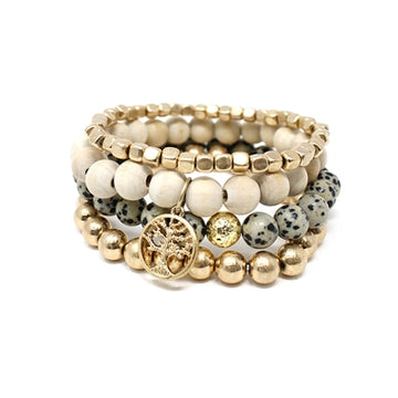 Gold, Wood, and Dalmatian Stretch Bracelet Set of 4