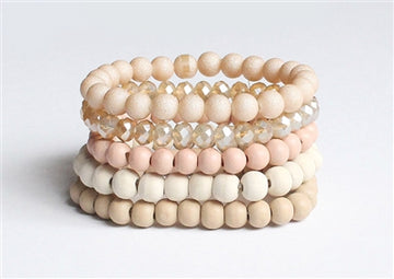 Peach White and Beige Wood with Crystal Set of 5 Stretch Bracelet