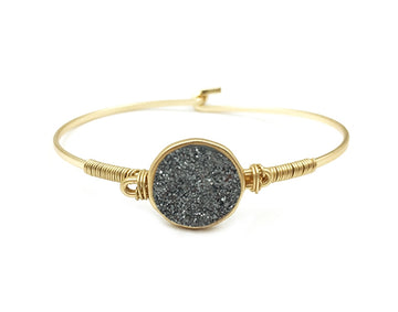 Gold Hinge Bracelet with Hematite Circle Faux Druzy