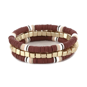 Maroon and Gold Nugget Set of Three Color Coated Bracelet