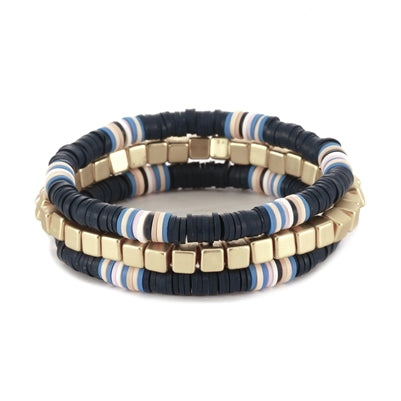 Navy and Gold Nugget Set of Three Color Coated Bracelet