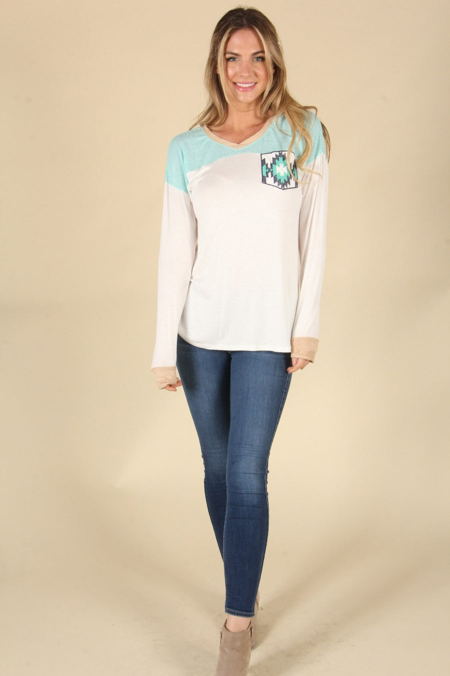 Mint Multi Aztec Pocket Long Sleeve Top