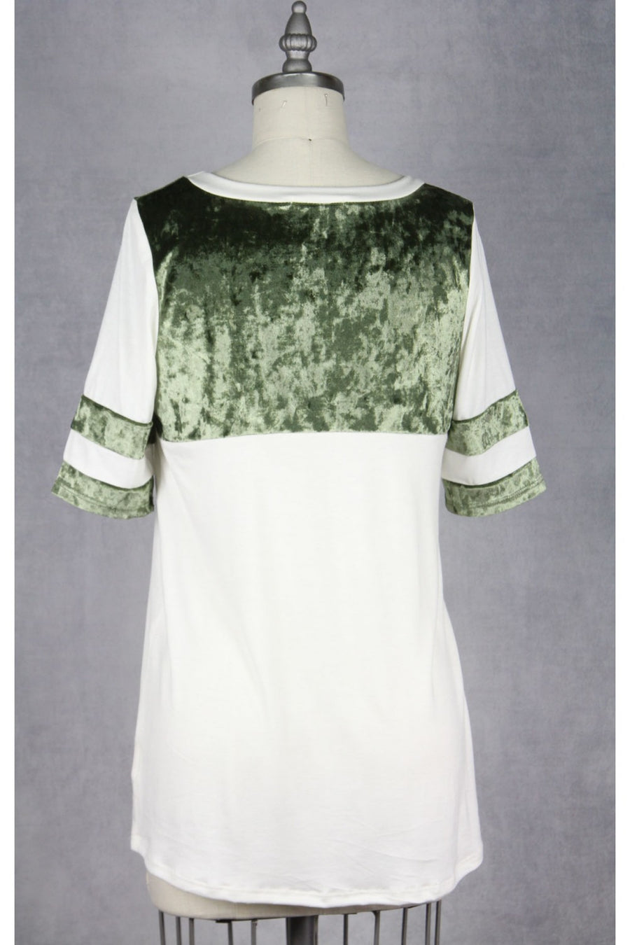 Olive Color Block Velvet Detail Short Sleeve Top