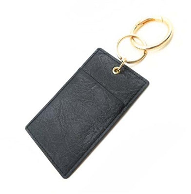 Black Genuine Leather Wallet Key Ring