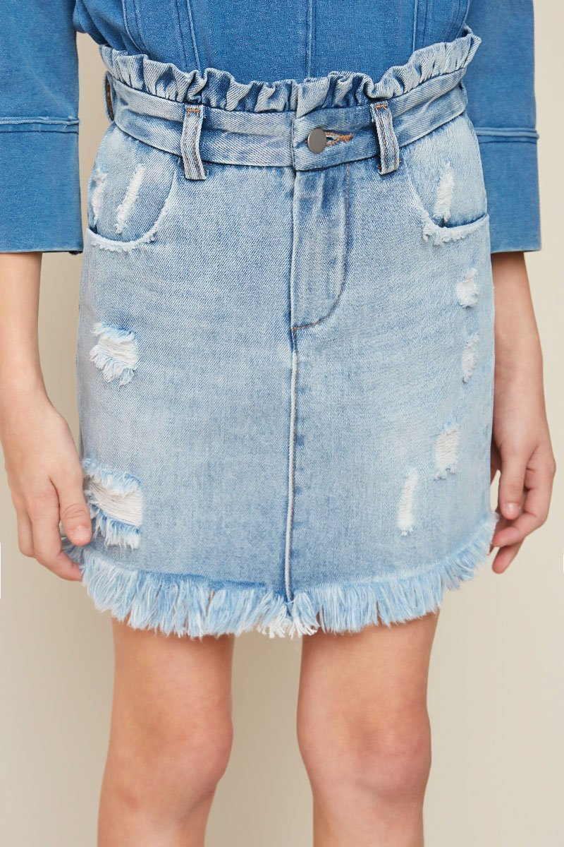 Girls High Waist Denim Skirt