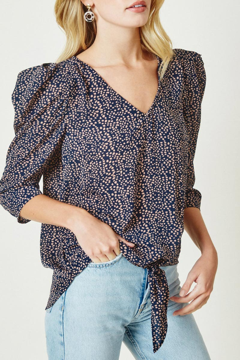 Navy Printed Puff Sleeve Front Tie Top