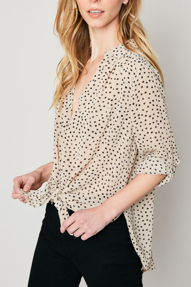 Tan Polka Dot Button Down Top