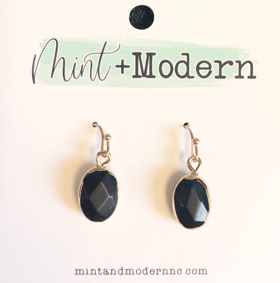 Jet Black Oval Stone Dangle Earrings
