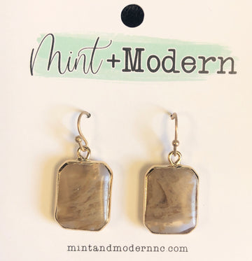 Natural Stone Rectangle Dangle Earrings