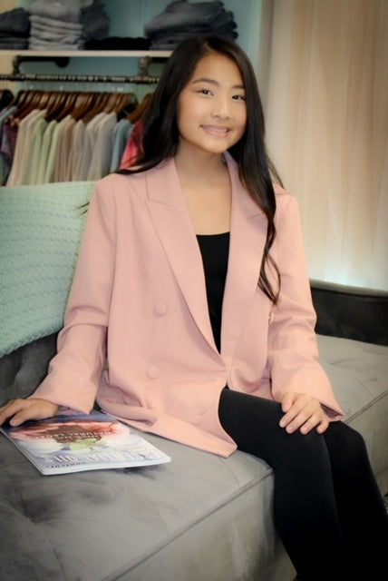 Mauve Basic Button Oversized Blazer Jacket