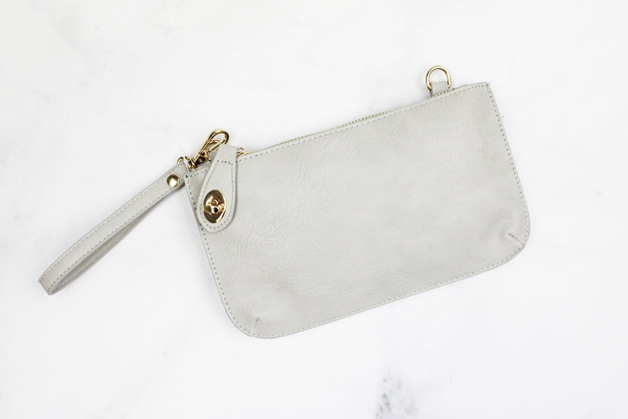 Grey Leather Clutch Crossbody