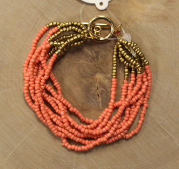 Coral & Gold Seed Bead Bracelet
