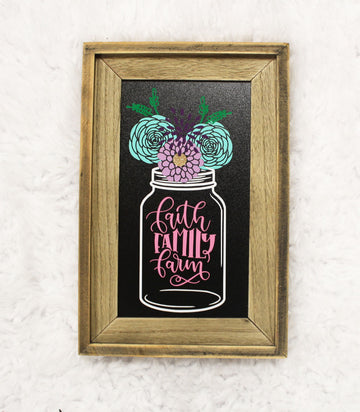 Faith Family Farm Floral Mason Jar Framed Chalkboard