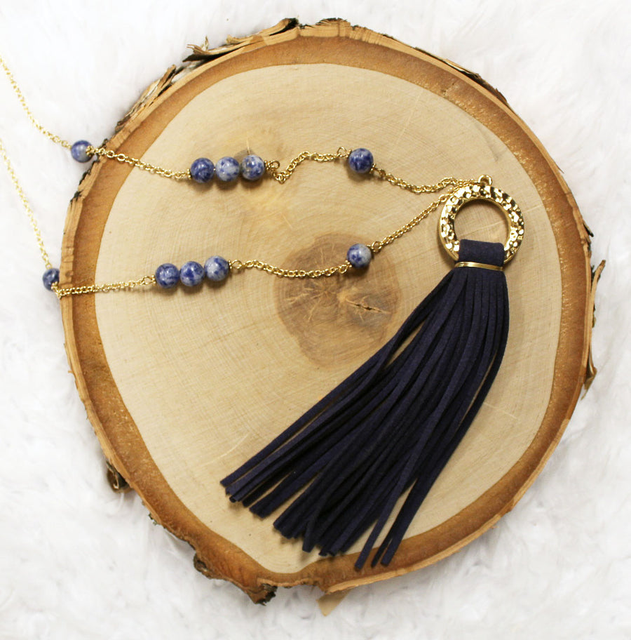 Navy Suede Tassel & Bead Long Necklace 18