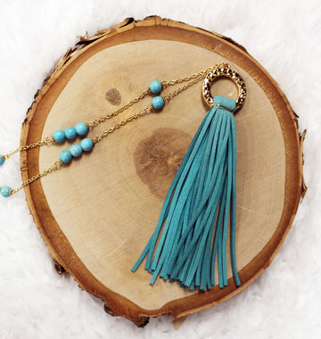Teal Suede Tassel & Bead Long Necklace 18