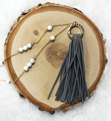 Gray Suede Tassel & Bead Long Necklace 18