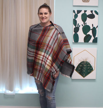 Green Reversible Tartan Poncho with Coconut Button