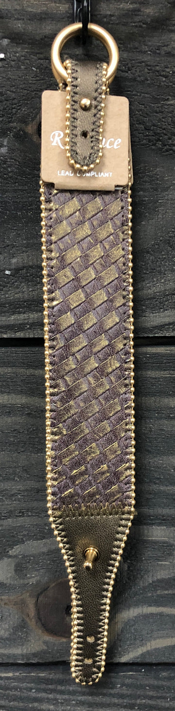 Grey Leather Woven Bracelet with Buckle Clasp