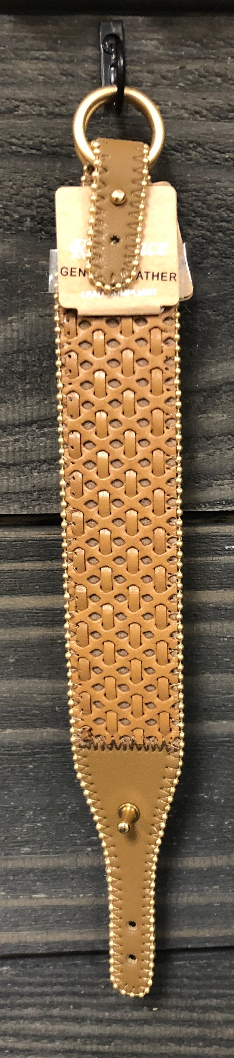 Brown Leather Woven Bracelet with Buckle Clasp