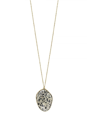Dalmatian Natural Stone on Gold Chain 34