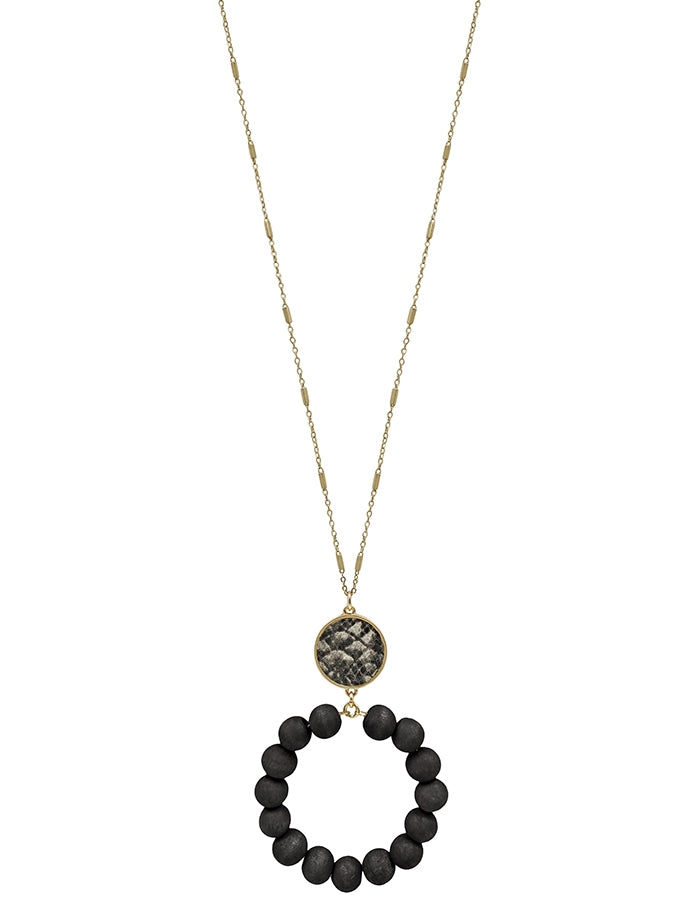 Grey Snake Print with Black Wood Beaded Circle 34