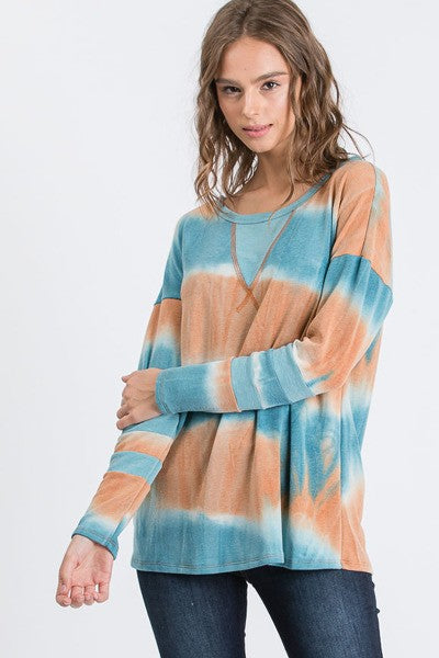 Striped Tie Dye Long Sleeve