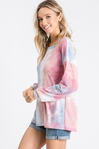 Rose Blue Tie Dye Round Neck Long Sleeve Top
