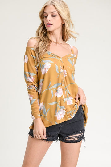 Floral Button Up Top with Cold Shoulders