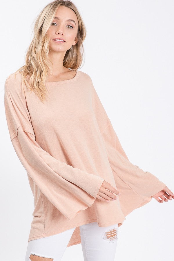 Peach Solid Round Neck Long Sleeve with Bell Sleeves