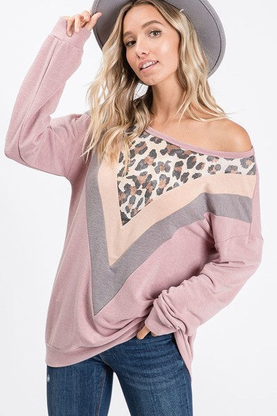Round Neck V Color Block Light Sweater