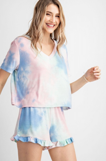 Pink Tie Dye Lounge Shirt Cropped Top