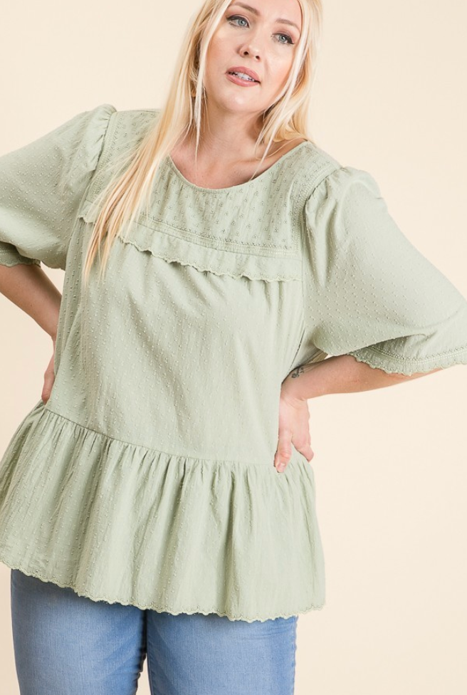 Dusty Sage Plus Size Dotted Woven Ruffle Short Sleeve Top
