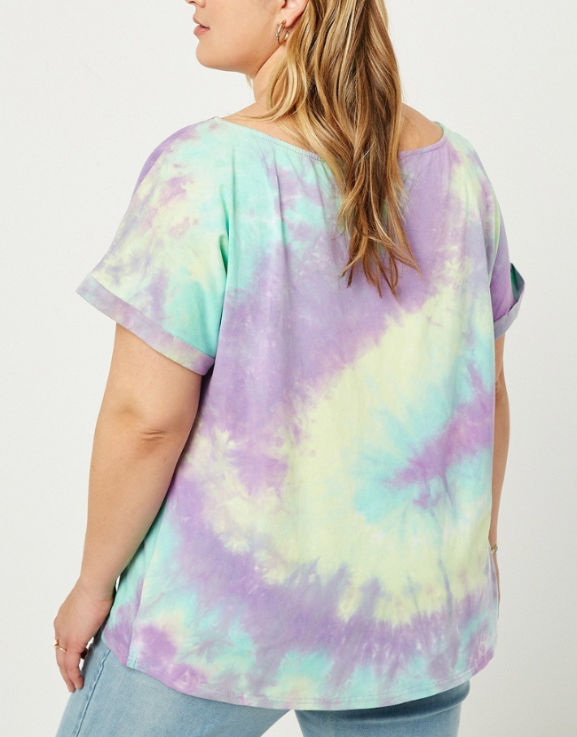 Plus Size Purple Tie Dye Short Sleeve Tee