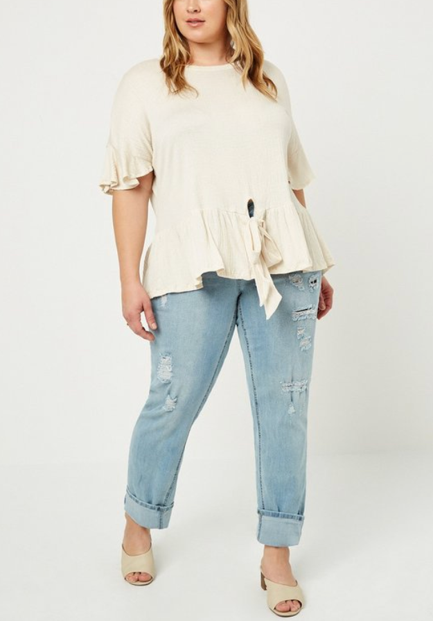Plus Size Cream Tie Front Ruffle Swing Top
