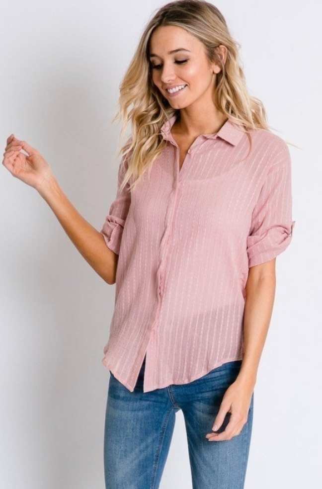 Peach Beige Striped Button Down Shirt