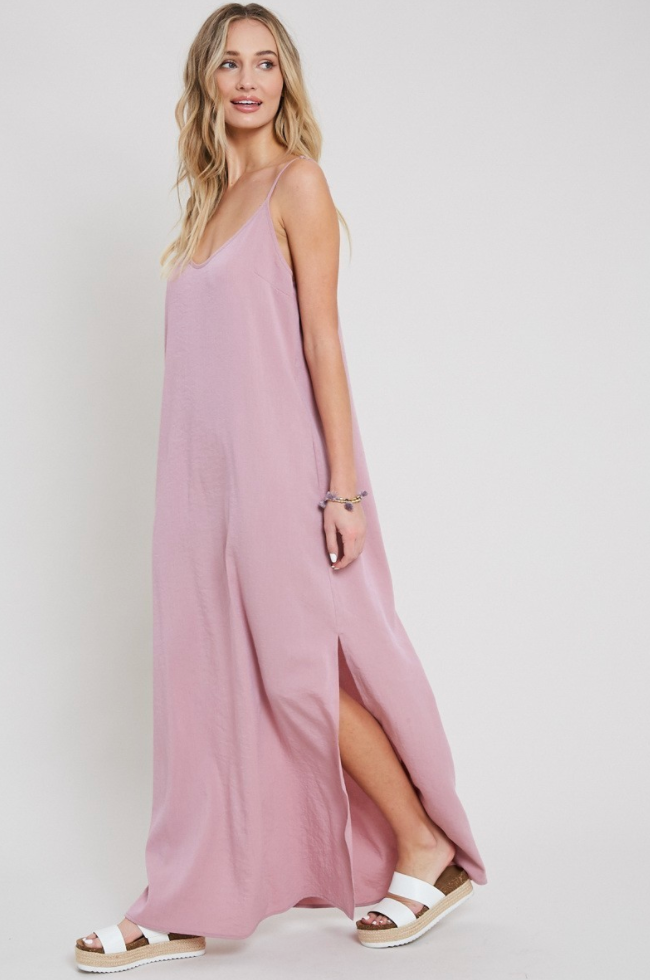 Dusty Pink Cami Long Maxi Dress with Side Slit