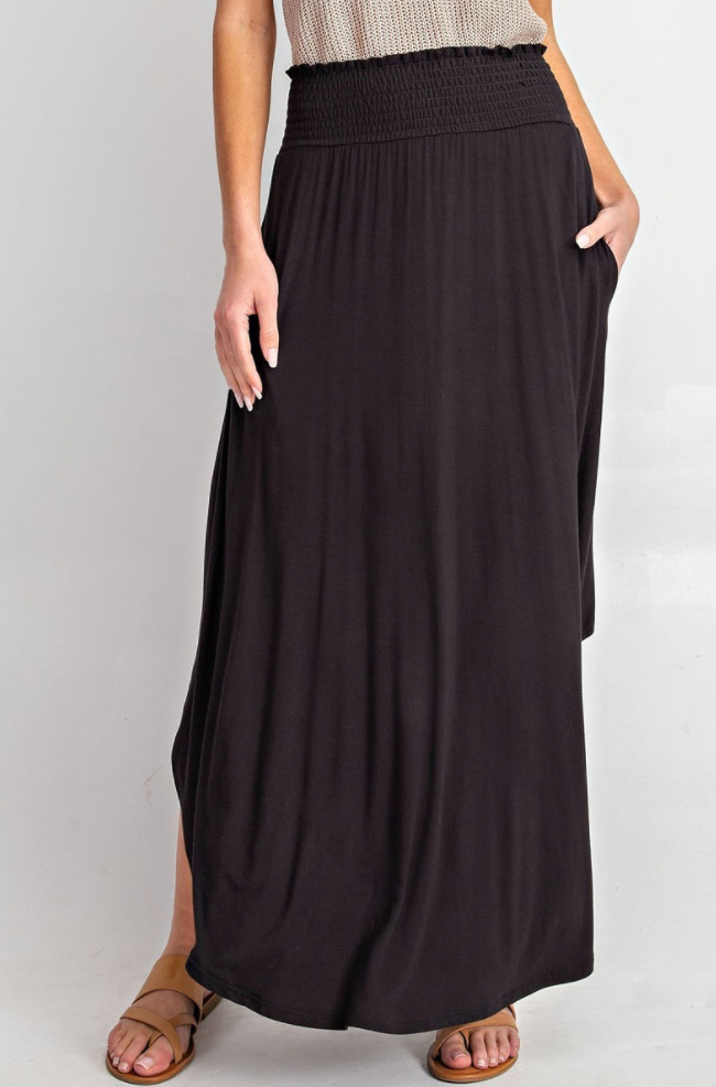 Black High Rise Maxi Skirt with Smocked Paneling