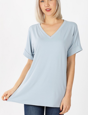 Ash Blue Brushed DTY Rolled Sleeve V-Neck Shirt with Side Slit