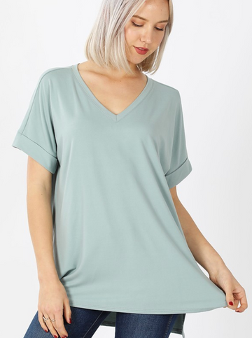 Light Green Brushed DTY Rolled Sleeve V-Neck Shirt with Side Slit