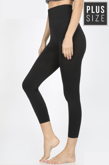 Black Plus Size High Waist Seamless Tummy Control Leggings