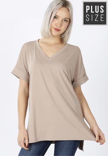 Ash Mocha Plus Size Brushed DTY Rolled Sleeve V-Neck Shirt with Side Slit