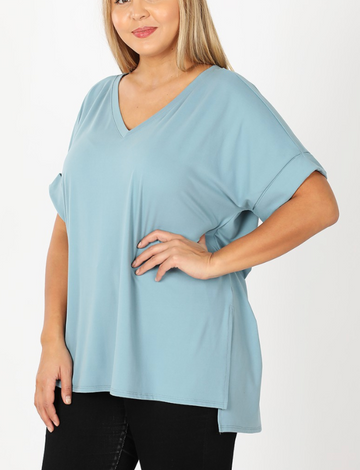 Blue Grey Plus Size Brushed DTY Rolled Sleeve V-Neck Shirt with Side Slit