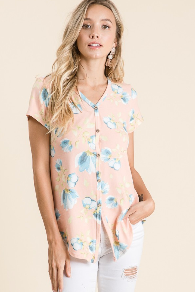 Blush Floral Button Down Short Sleeve Top