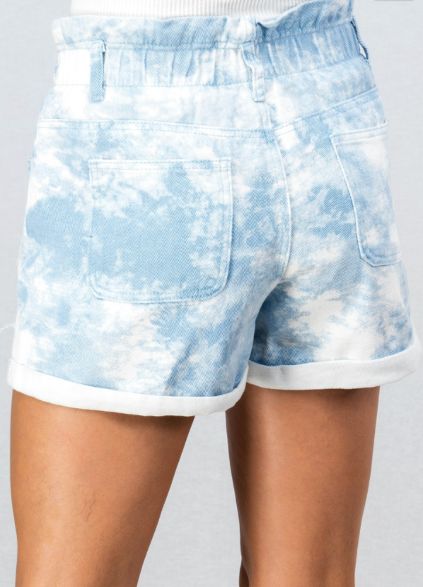 Blue Tie Dye High Waisted Shorts