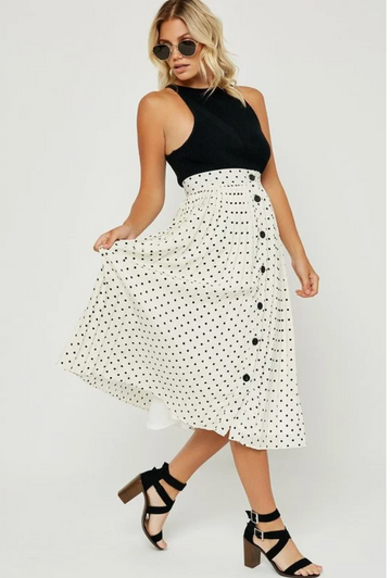 Cream Polka Dot Pleated Midi Skirt