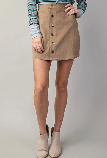 Taupe Front Button Corduroy Skirt